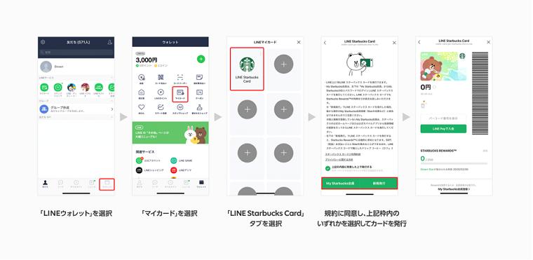 LINEアプリ(スターバックスカード)