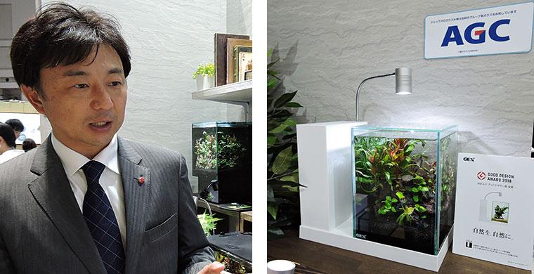 ジェックス 代表取締役社長・五味宏樹氏(左)、グッドデザイン賞を受賞した「AQUA-U」(右)