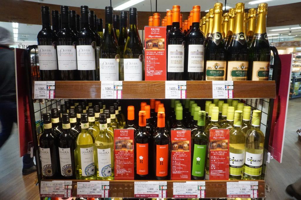 酒類のなかでも、売上好調の欧州産ワインの販売を強化。1500円前後の価格帯の商品を充実させている