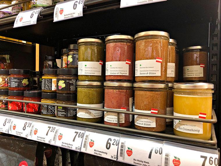 珍しいラズベリーとタイムのハチミツやイチジクの辛子なども発見