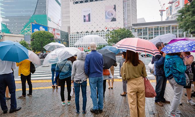 渋谷、雨の様子