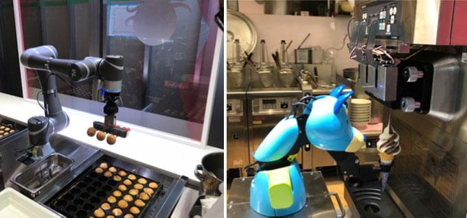 ソフトクリームロボ(左)とたこ焼き調理ロボ