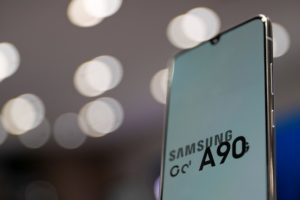 ソウルで展示されたサムスンのスマートフォン
