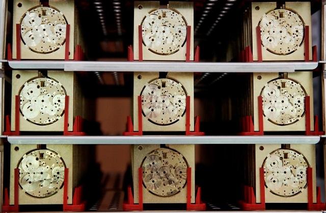 スイス・シャフハウゼンの工房に展示されたIWCの時計のムーブメント