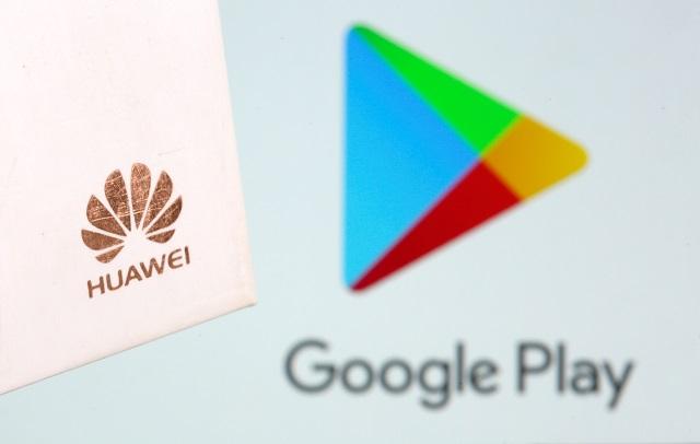 ファーウェイと、グーグルのアプリストアのロゴ