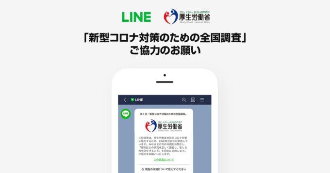 厚生労働省による、LINE対話アプリで新型コロナの全国調査