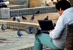 公園でパソコンをみる男性