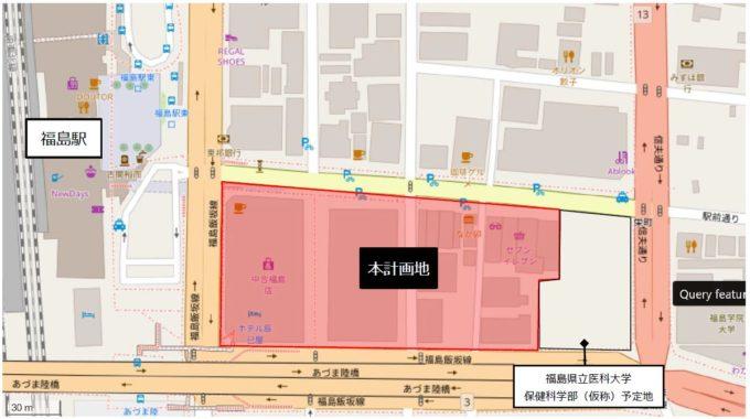 福島駅東口再開発事業の場所