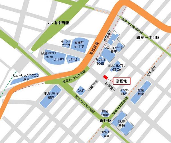 阪急阪神銀座ビルの位置図