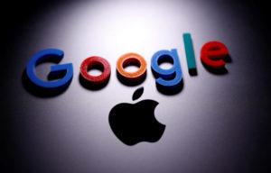 グーグルとアップルのロゴ