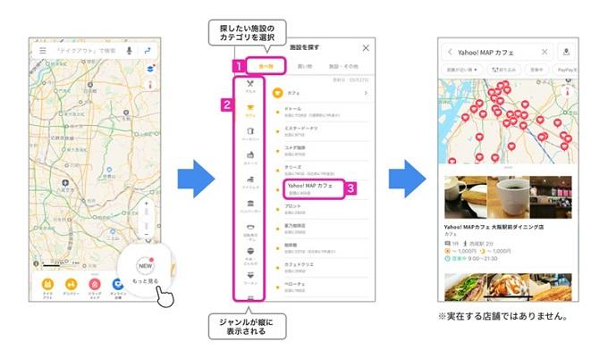 ヤフーの「Yahoo! MAP」で飲食店や小売店の営業情報を提供するサイト