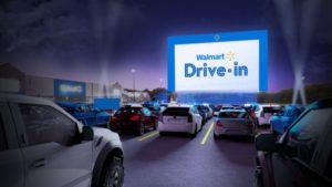 ウォルマートの店舗駐車場で行われるドライブインシアターのイメージ