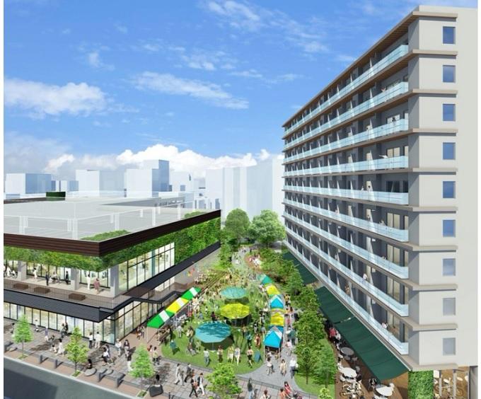 イオンタウンとNTT都市開発が、大阪・守口市庁舎跡を新たに開発する、商業・住宅複合施設の完成イメージ