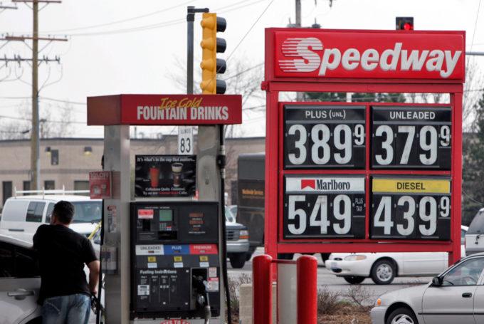米イリノイ州にある米マラソン・ペトロリアムのガソリンスタンド「スピードウェイ」