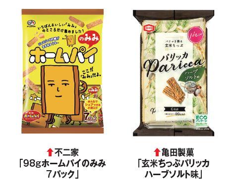 不二家「98gホームパイのみみ7パック」、亀田製菓「玄米ちっぷパリッカハーブソルト味」