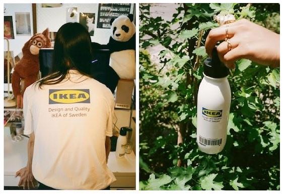 イケアの公式ロゴを配したTシャツと水筒