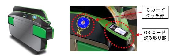 RコードとICの読み取りができる「タッチしやすい自動改札機」