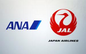 全日本空輸(ANA)と日本航空(JAL)のロゴ