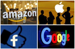 アマゾン、アップル、フェイスブック、グーグルのロゴ
