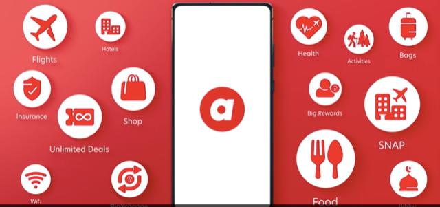 エアアジアの新アプリの概観。旅行やホテルの予約のみならず、ECや生鮮宅配、保険など多種多様な生活サービスを提供する