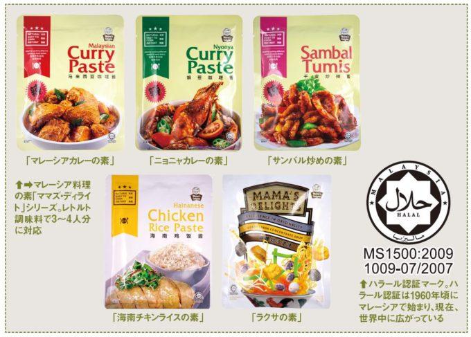 ユウキ食品、マレーシア料理 の素「ママズ・ディライ ト」シリーズとハラール認証マーク