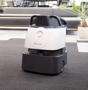 ソフトバンクロボティクスが開発した自律走行型の床掃除ロボットにアイリスオーヤマが独自の機能を加えた