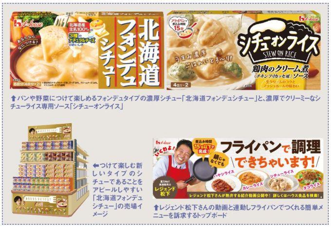 ハウス食品の「北海道フォンデュシチュー」と「シチューオンライス」