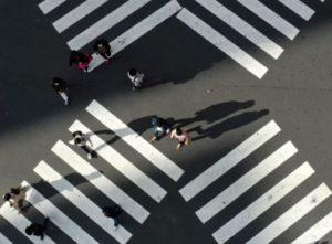 都内の上空から撮影されたスクランブル交差点