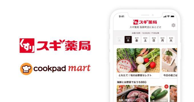クックパッドとスギ薬局のロゴとサイト画面