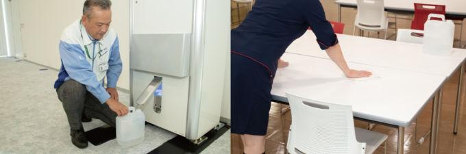 手軽に取り出せる微酸性電解水を衛生管理のため使用。その性能、効果について説明し、実際に従業員が自由に使用できるようにしている。