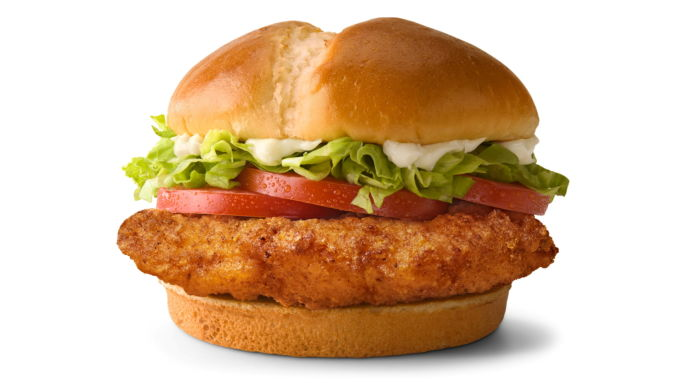 米マクドナルドが発売するクリスピーチキンのサンドイッチ