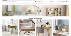 世界最大の家具・インテリア用品専門EC企業ウェイフェア(Wayfair)のウェブサイト