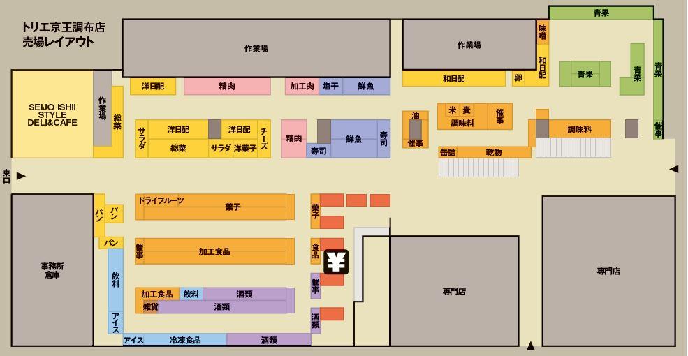成城石井トリエ京王調布店の売場レイアウト