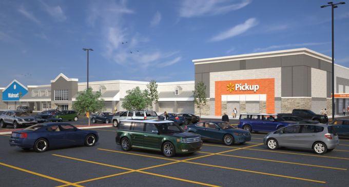 小型配送センターを併設したウォルマートスーパーセンターの外観イラスト