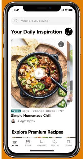 ショッパブル・レシピに対応した「サイドシェフ」のホーム画面