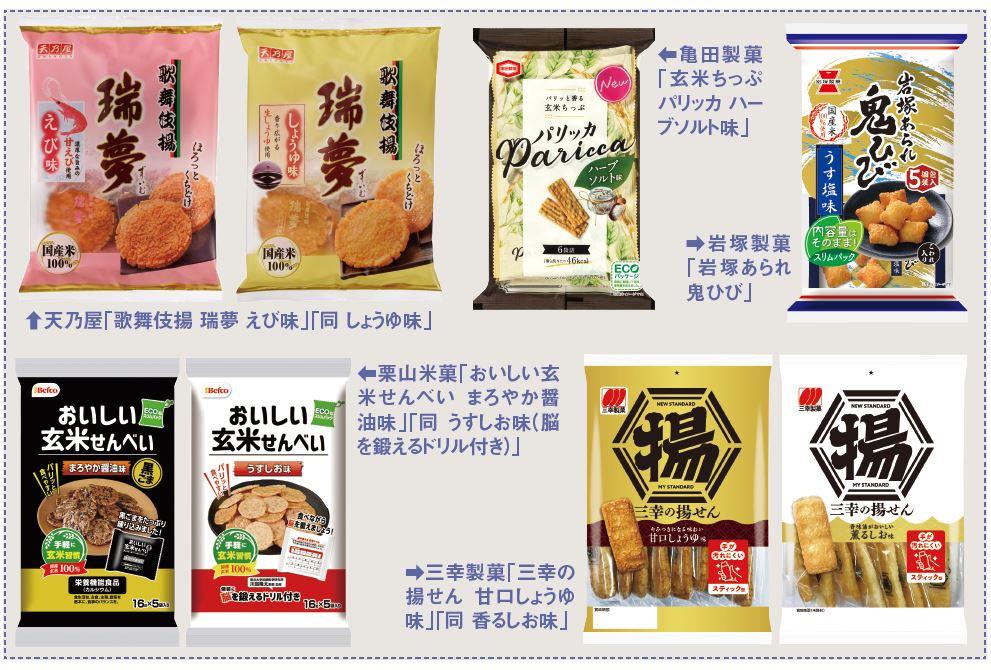 亀田製菓、天乃屋、栗山米菓、岩塚製菓、三幸製菓の商品