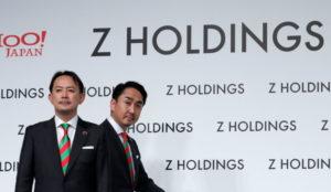 Zホールディングス共同最高経営責任者の川辺健太郎氏と出沢剛氏