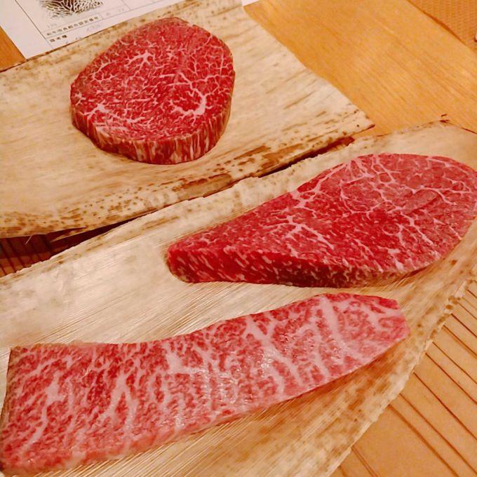 オーダーした神戸牛の「イチボ」「カメノコ」「シンシン」