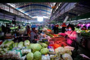 中国武漢の野菜市場