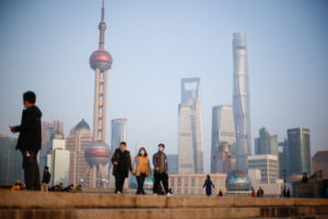 上海市のバンド地区からみた高層ビル群。