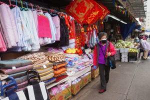 ニューヨーク市内にある中華街のようす。