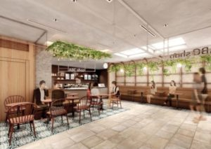 「大名古屋ビルヂング」内「大名古屋マルシェ」に出来る飲食と休憩エリアの完成イメージ