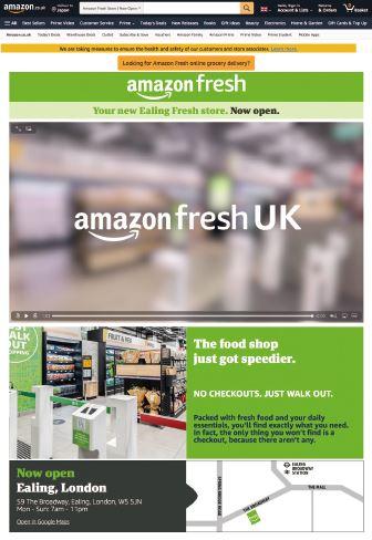 英国に出店した「アマゾン・フレッシュ」の紹介サイト