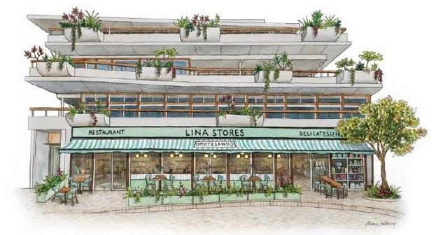 東京表参道に出店する、高島屋のイタリアンデリカテッセンとレストランの複合業態1号店「リナストアズ(Lina Stores)」の完成イメージ