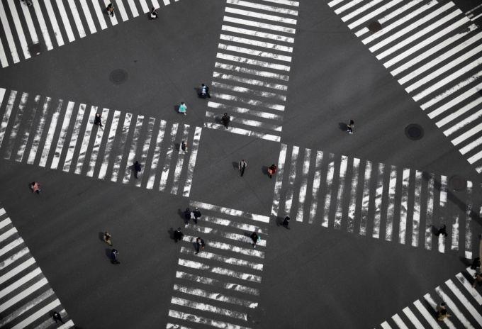 都内の横断歩道