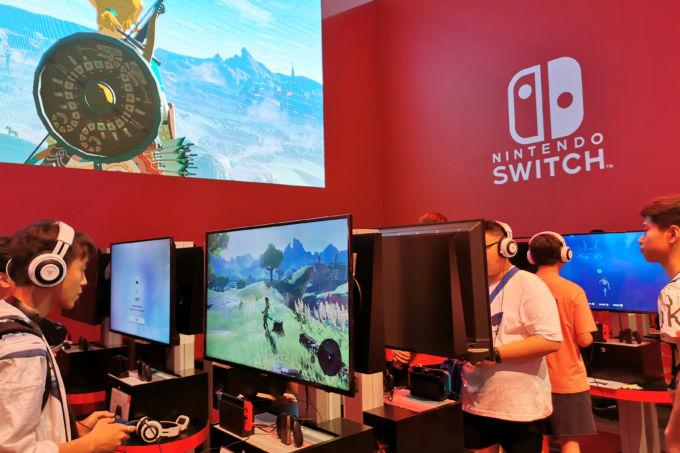 中国上海で開かれたゲームショーの任天堂ブース
