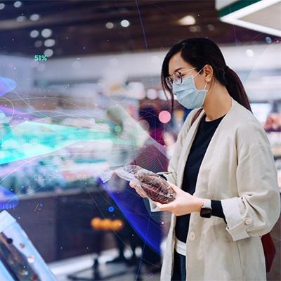 来店客の行動や属性などをAIを使って解析するイメージ