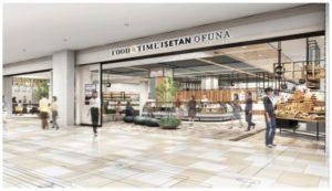 三越伊勢丹の食物販を中心とした商業施設「フード&タイム イセタン オオフナ(FOOD&TIME ISETAN OFUNA)」の完成イメージ