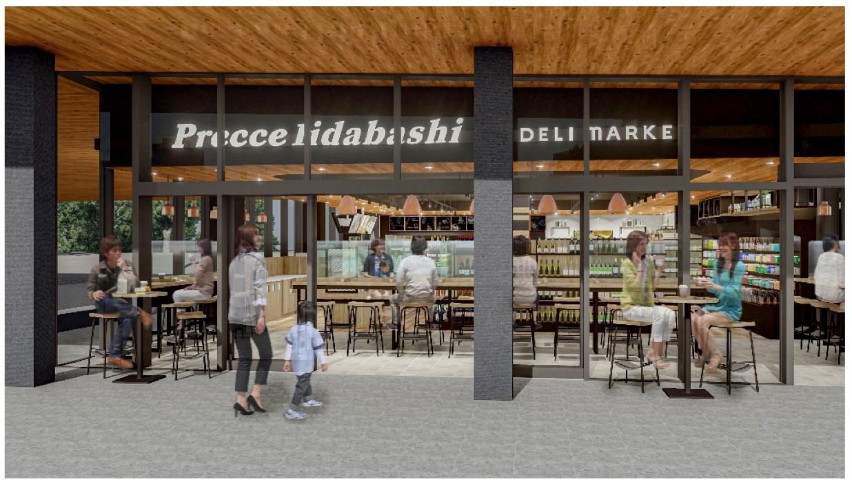 東急ストアの食品スーパーとレストランを融合させたグローサラント型業態「プレッセ飯田橋デリマーケット」完成イメージ