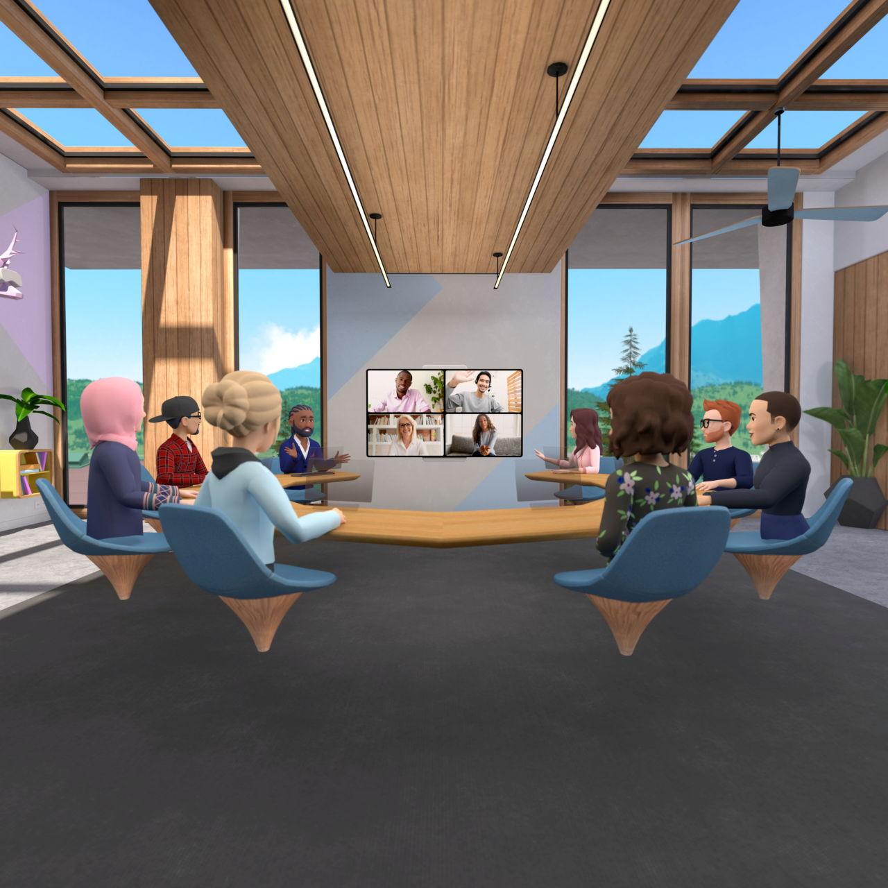 FBが公開した、リモートワーク用の新たな仮想現実(VR)アプリ「ホライゾン・ワークルームズ」の試験版